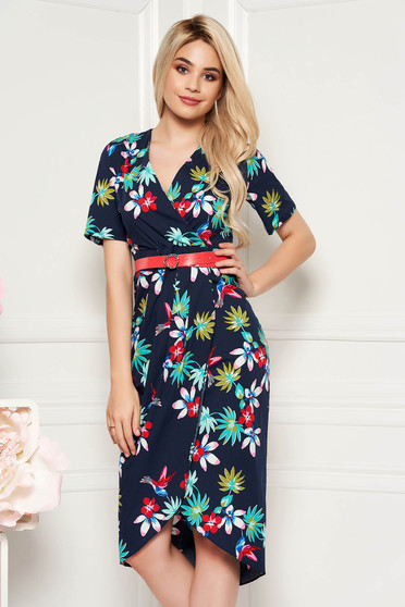 Darkblue daily dress arched cut with v-neckline airy fabric accessorized with belt