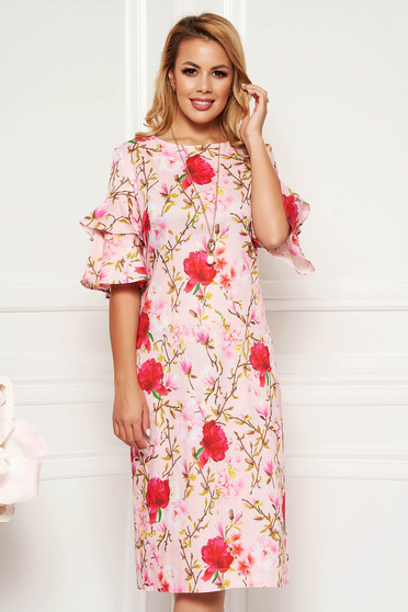 Rosa daily straight dress with ruffled sleeves accesorised with necklace