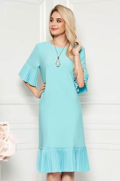 Mint elegant midi straight dress slightly elastic fabric