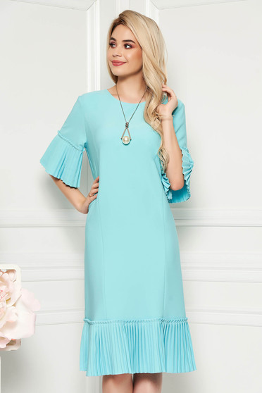 Mint elegant midi straight dress slightly elastic fabric