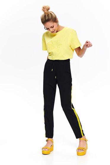 Top Secret black casual trousers with medium waist elastic waist straight