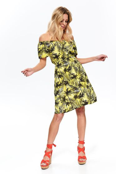 Top Secret yellow daily cloche dress with v-neckline airy fabric