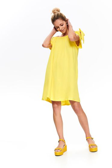 Top Secret yellow daily flared dress short sleeve off shoulder airy fabric