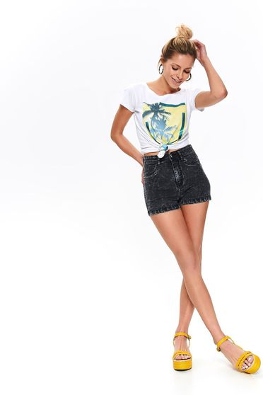 White t-shirt short sleeve cotton flared casual