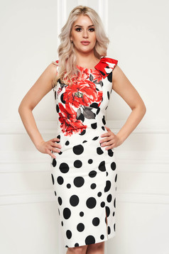 White dress with dots print with floral prints elegant with tented cut daily midi sleeveless