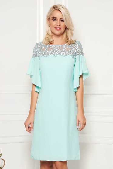 Turquoise dress with lace details elegant with ruffled sleeves short cut straight