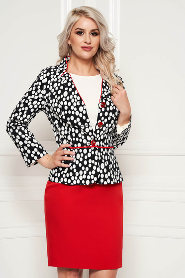Red lady set from 2 pieces dots print office cotton with padded shoulders