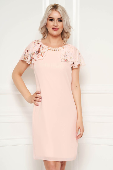 Peach dress elegant with ruffled sleeves midi with straight cut with metal accessories