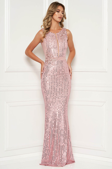 Rosa dress mermaid with sequins long luxurious sleeveless lace and sequins details