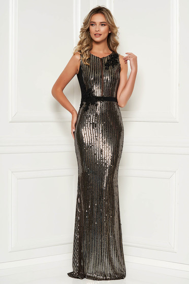 Black dress mermaid with sequins long luxurious sleeveless lace and sequins details