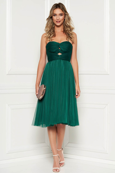 Ana Radu green dress occasional from tulle with inside lining corset