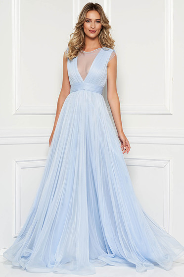 Ana Radu lightblue luxurious dress from tulle with inside lining with push-up cups evening dresses