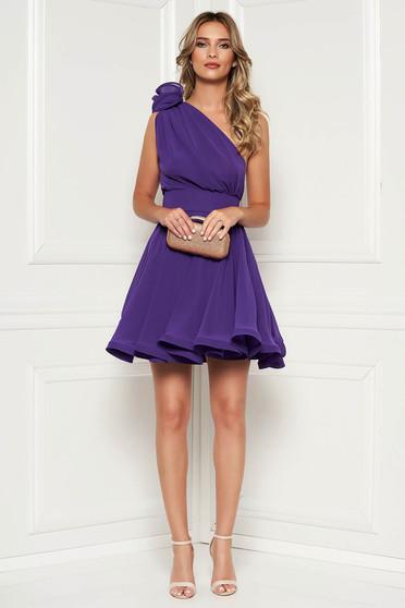 Ana Radu purple dress with inside lining occasional sleeveless short cut voile fabric