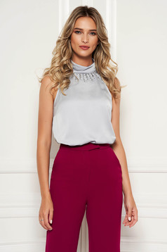 Grey top shirt from satin fabric texture elegant with crystal embellished details