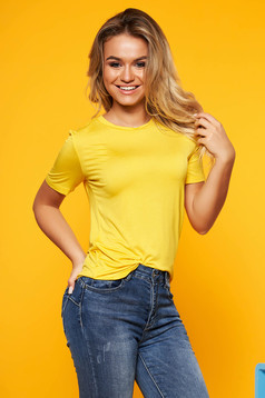 Yellow t-shirt short sleeve casual with easy cut