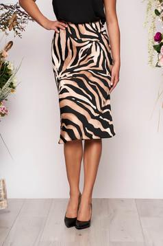 Brown skirt with animal print casual thin fabric high waisted midi