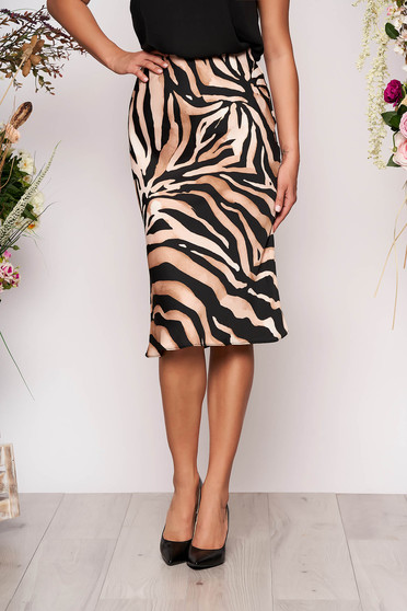 Brown skirt with animal print casual thin fabric high waisted midi