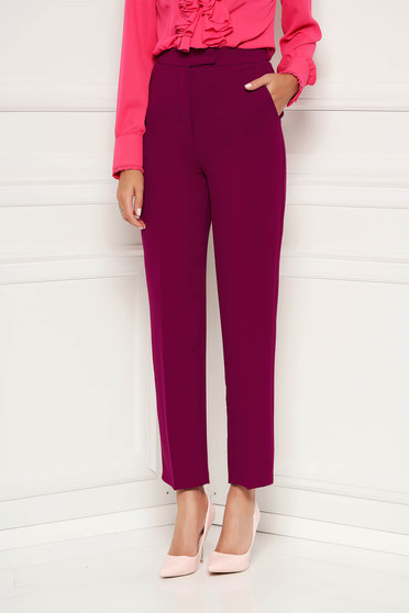 Fuchsia trousers straight elegant with pockets with medium waist