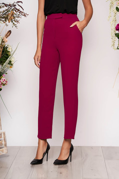 Fuchsia trousers straight elegant with pockets with medium waist