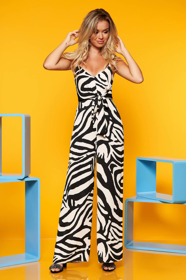 Black jumpsuit with straps airy fabric with cut back casual animal print