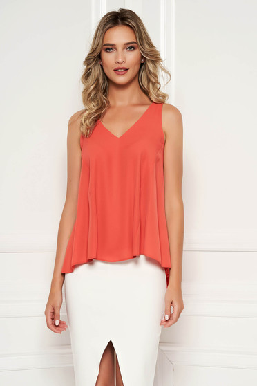 StarShinerS coral top shirt with easy cut with v-neckline asymmetrical