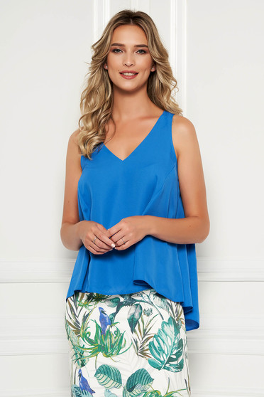 StarShinerS blue top shirt with easy cut with v-neckline asymmetrical