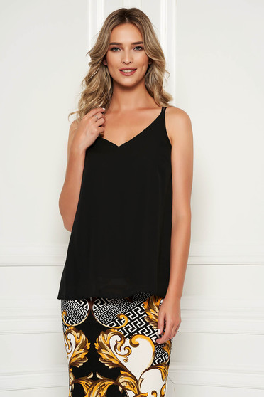 StarShinerS black top shirt with easy cut with v-neckline voile fabric