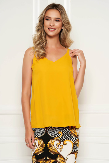 StarShinerS mustard top shirt with easy cut with v-neckline voile fabric