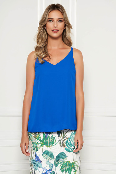 StarShinerS blue top shirt with easy cut with v-neckline voile fabric