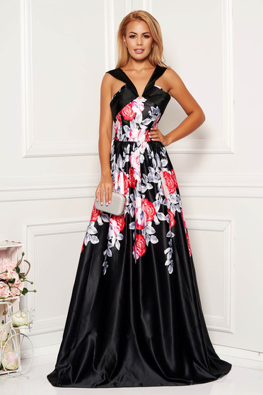 Black dress with deep cleavage with floral prints long evening dresses