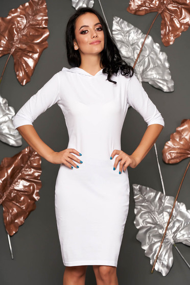 White dress with tented cut short cut casual