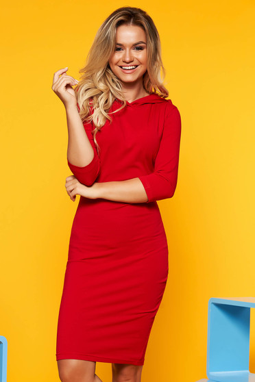 Red dress with tented cut short cut casual