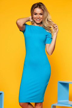 Turquoise dress with tented cut short sleeve cotton