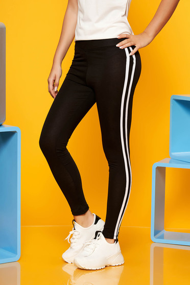 White casual sporty tights with medium waist slightly elastic cotton with tented cut