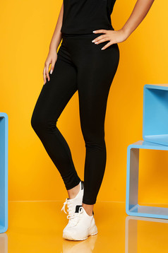 Black casual 3/4 cotton tights wwith medium waist