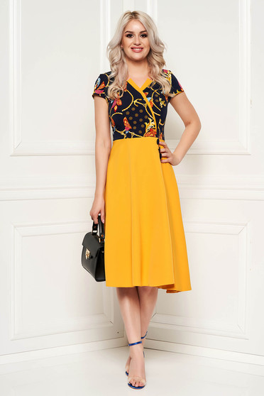 Mustard daily elegant cloche dress with floral print