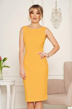 StarShinerS basic mustard pencil with cut back dress elegant midi