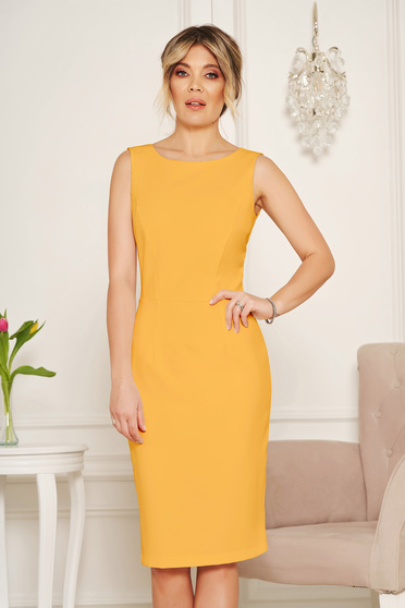 StarShinerS basic mustard pencil with cut back dress elegant midi