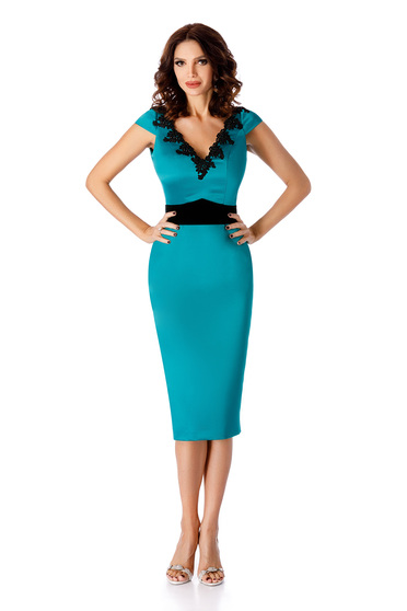 Turquoise occasional midi dress with tented cut with v-neckline
