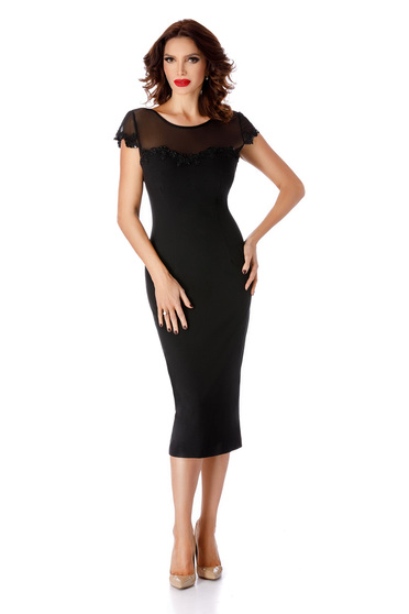 Black occasional pencil dress bareback