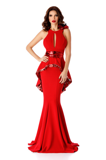 Red occasional mermaid dress frilled cut-out bust design with sequin embellished details