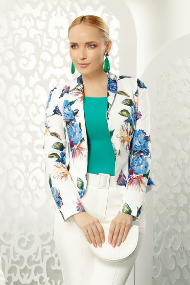 Blue office blazer tented jacket long sleeve slightly elastic cotton with floral print