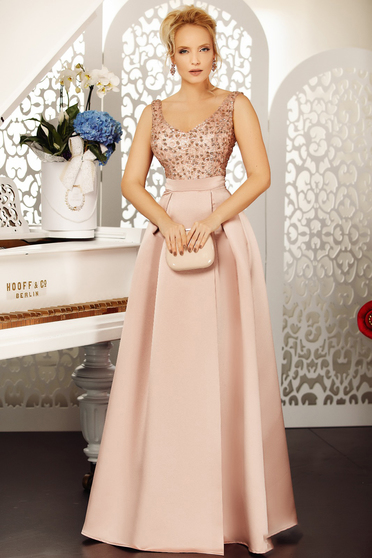 Lightpink occasional cloche dress with v-neckline from satin fabric texture with sequin embellished details