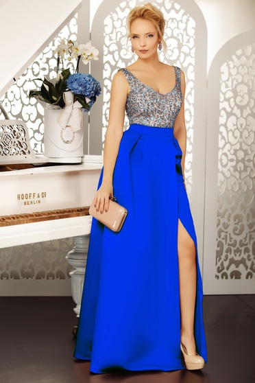 Blue occasional cloche dress with v-neckline from satin fabric texture with sequin embellished details