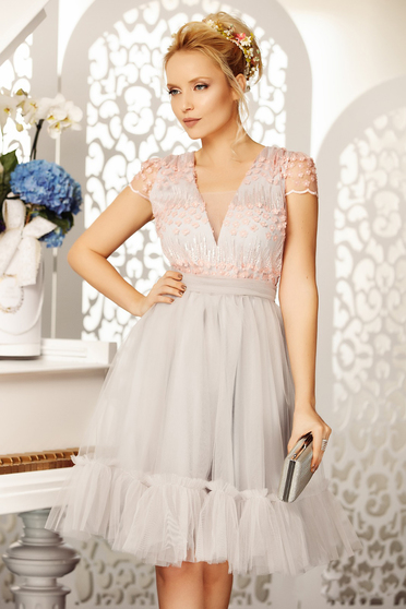 Grey occasional cloche dress from tulle with sequin embellished details with v-neckline