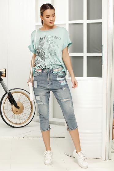 Turquoise long flared t-shirt short sleeve slightly transparent fabric