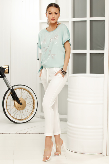 Turquoise casual with easy cut t-shirt short sleeves airy fabric