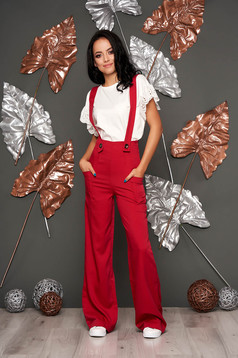 Red long jumpsuit flaring cut with straps