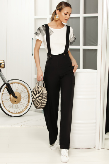 Black long jumpsuit flaring cut with straps