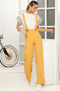 Yellow long jumpsuit flaring cut with straps